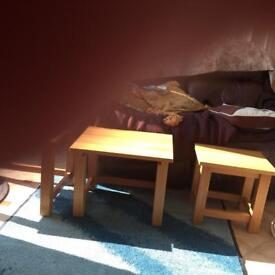 nest of 3 coffee tables solid pine very heavy