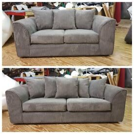 Brand New 3+2 Grey Jumbo Cord Sofa With Foam Filled Cushions... ONLY 269.99