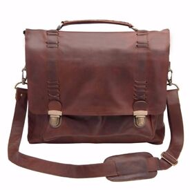 Perfect Gift Men's MAHI Satchel GENUINE LEATHER Quality Bag in Vintage Brown Brand NEW