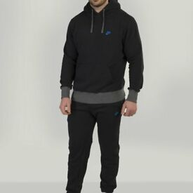 Black/Grey Nike Mens Hoodie Tracksuit Jogging Bottoms Set Fleece Pockets Rip Cuffs (BRAND NEW)