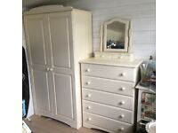 Used cream bedroom solid wood wardrobe with matching five draw chest