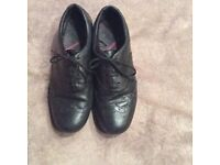 Girls black leather shoes size 5.5
