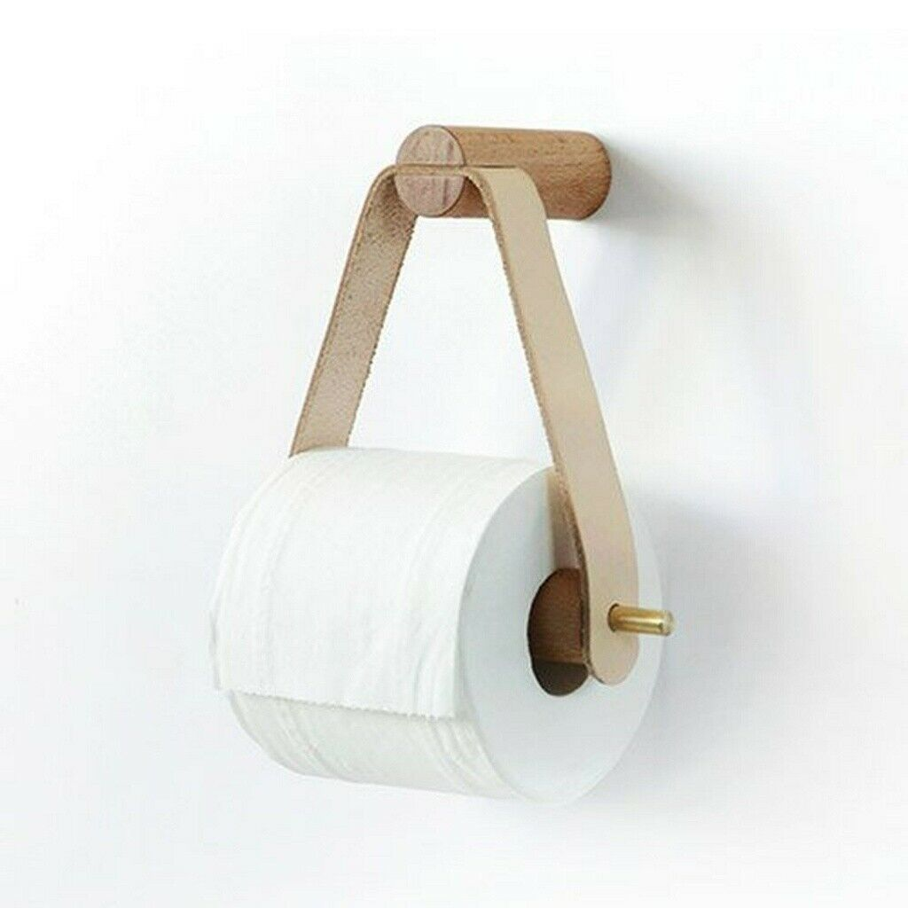 Wood Toilet Paper Holder Wall Mount No Punch Toilet Tissue Paper Roll Holder Am3 Ebay