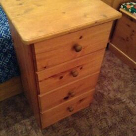 Pine bedside table/small chest of drawers