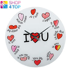 WALL CLOCK I LOVE YOU IN MULTIPLE LANGUAGES HEARTS ROUND WHITE VALENTINE'S NEW
