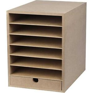 Captivating A4 Paper Card Storage Filing Cabinet MDF Wood Wooden Strong 6 Shelves 1  Drawer