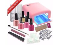 BRAND NEW CCO PINK DELUXE GEL NAIL KIT POLISH VARNISH STARTER SET WITH PINK 36W LAMP LIGHT