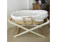 Mothercare unisex Moses basket and white wooden stand. Great condition. Hardly used. Moon and stars