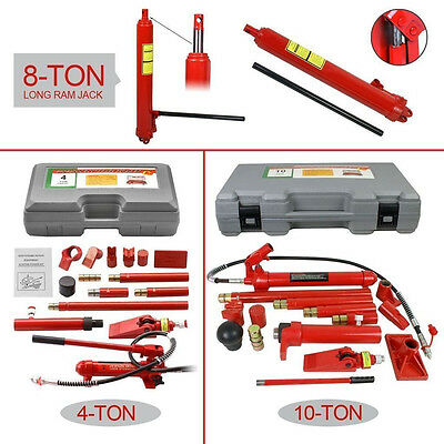 8 ton long ram jack | 4/10 Ton Power Hydraulic Jack Kit Body Frame Repair Tool  ()