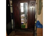 period solid wood wardrobe with mirror and beautiful detail