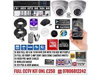 2 Cameras Full HD CCTV KIT, 8CH FULL HD XVR DVR, 2x 2.4MP Dome Cameras