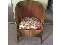 Original 1930s Lloyd Loom Lusty chair with sprung seat