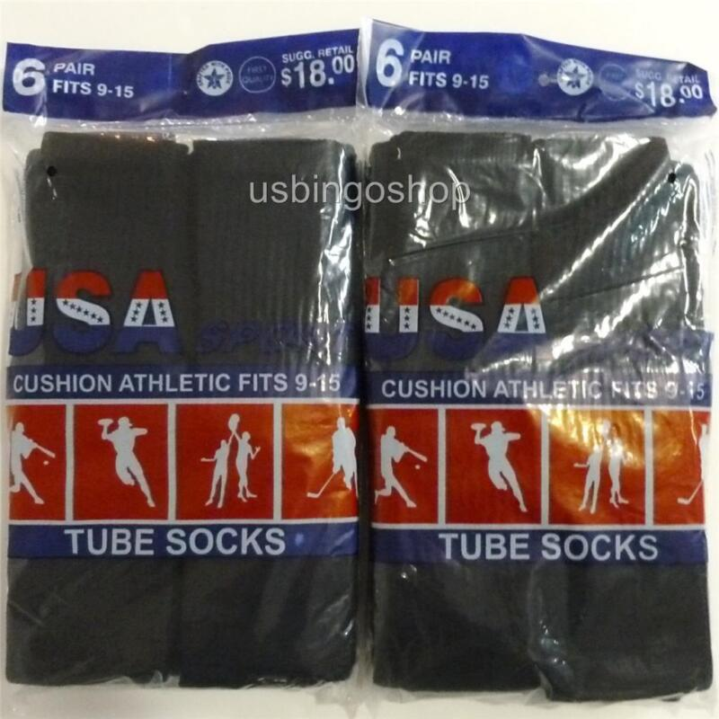 12 Pairs New Black Mens Cotton Athletic Sports Crew Tube Socks 9-15