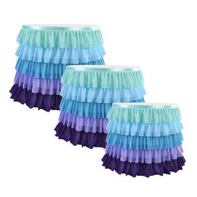 Ruffled Table Skirt (Mermaid Tulle Table Skirt 5 Tier Ruffle Table Skirting Birthday Party)