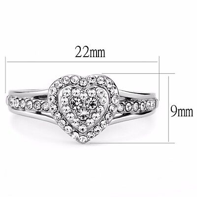 Heart Shape Ring Setting (Clear CZ Set Heart in Heart Shape 316 Stainless Steel Womens Sweetheart Ring )