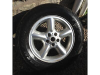 Range Rover alloy wheels and tyres x 4 - 18 inch rims with good used tyres - can fit vw T5 + T6