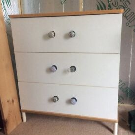 Three drawer and matching cupboard