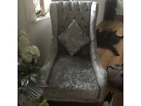 Silver velour wing backed arm chair