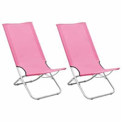 vidaXL 2x Sillas de Playa Plegables Tela Rosa Camping Asiento Piscina Jardín
