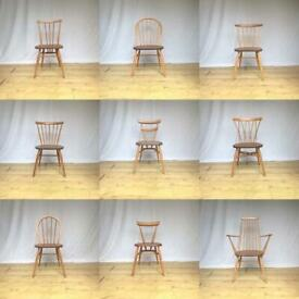 Vintage Ercol mid century original dining chairs Windsor stacking candlestick 391 goldsmith 370 747