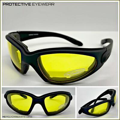 Motorrad Tag oder Nacht Reiten Gepolstert Sonne Brille Schutz Gelbe Linsen