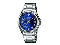 Brand New Genuine CASIO Analogue Quartz Date Watch Blue Silver Stainless Steel