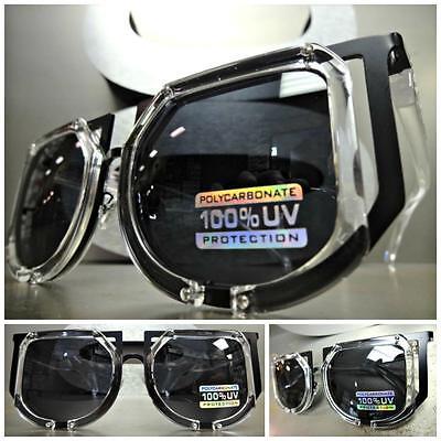 CLASSIC VINTAGE 70's RETRO Style SUN GLASSES Transparent & Black Fashion Frame