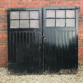 Pair of Old Timber, Glazed, Garage Doors