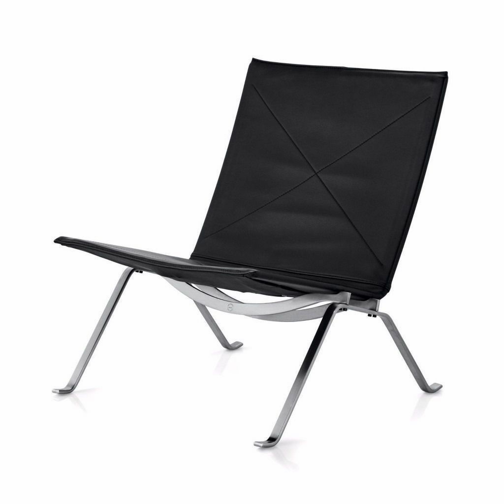 Design Modern Retro Black Leather Lounge Chair PK22 Poul Kjaerholm style **CAN DELIVER**