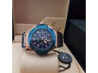 New Mens boxed blue canvas on rubber strap hublot fusion with blue face rose gold casing with autom