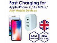 USB-C PD 30W Fast Charging for Apple iPhone X / 8 & 2.4A Ports Charger Plug for Mobile
