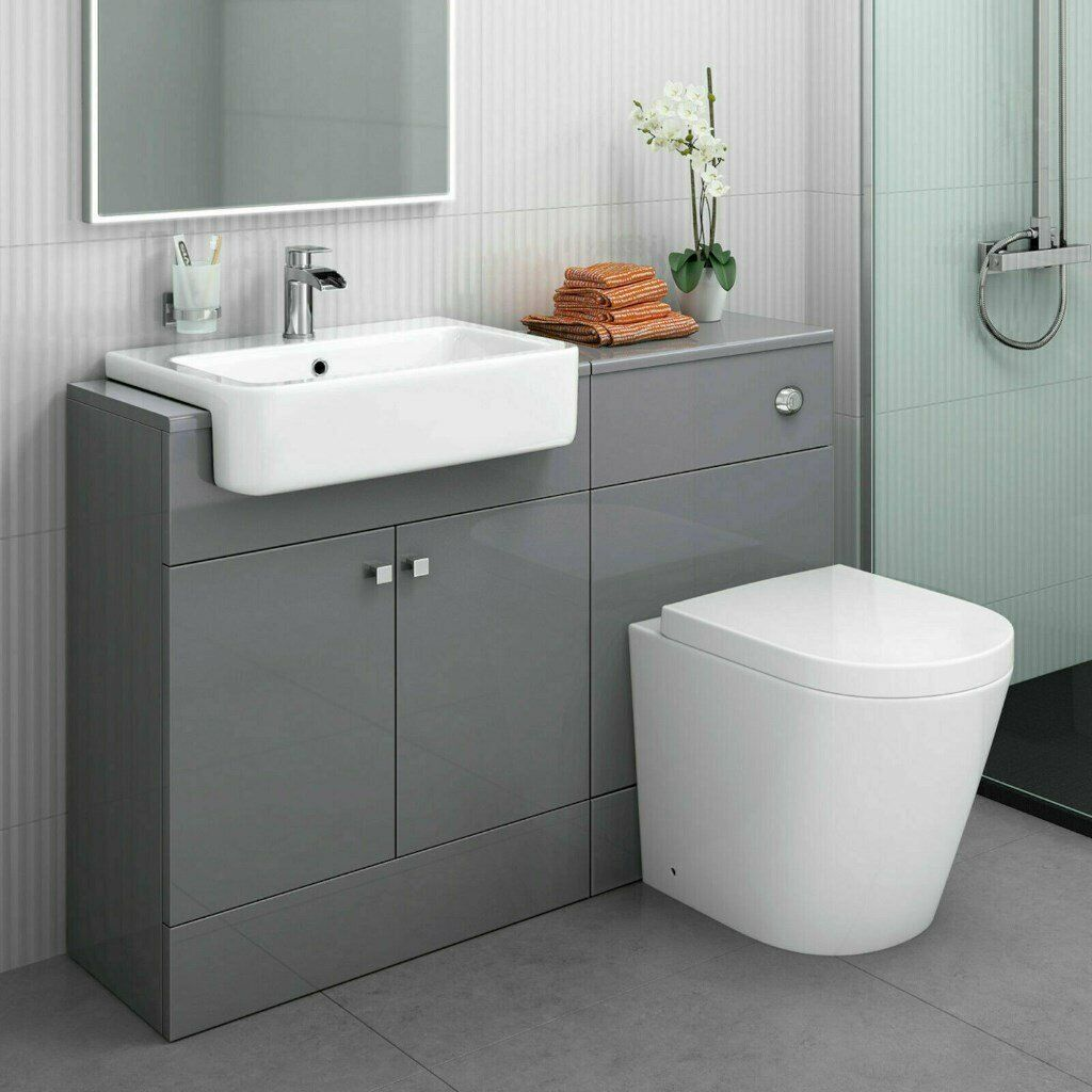 Miraculous Combined Square Gloss Grey Vanity Unit Toilet Sink 1160Mm Bathroom Furniture In Levenshulme Manchester Gumtree Home Interior And Landscaping Transignezvosmurscom