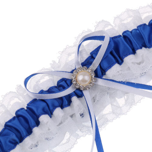 Giarrettiera da sposa raso blu con accessori da sposa Bowknot nastro