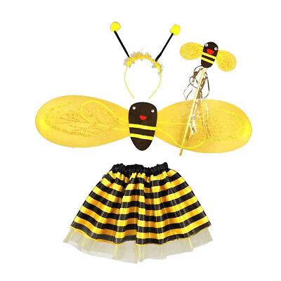 Bienen Set Haarreif Fühler Flügel tutu Rock Fee Halloween Fancy Party ()