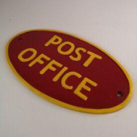 Post Office - Heavy Cast Iron Sign