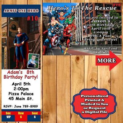 Personalized Superhero Birthday Invitations 10 ea with Env or Digital File](Superhero Invitations)