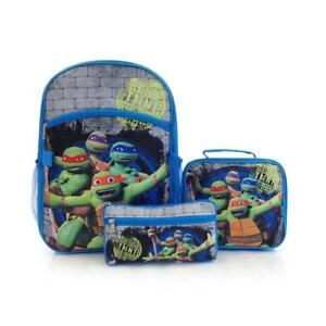 """Nickelodeon Econo 3pc Kit-TMNT 15"""" School Backpack, Lunch Bag and Pencil Case"""