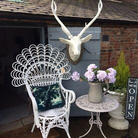 Beautiful white cane peacock chair (Matching mirror available)