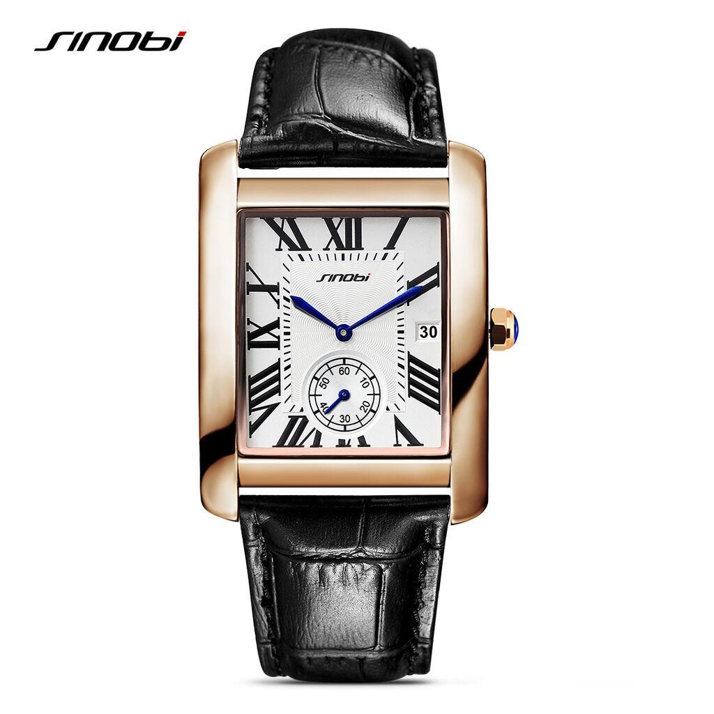 $13.49 - Vintage Mens Square Tank Watches Top Luxury Brand Waterproof Leather Wrist Watch