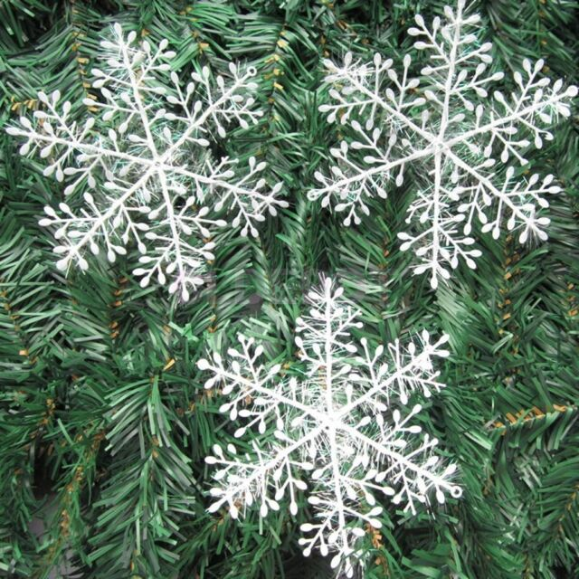 30Pcs Classic White Snowflake Ornaments Christmas Holiday Party Home Decor  AU