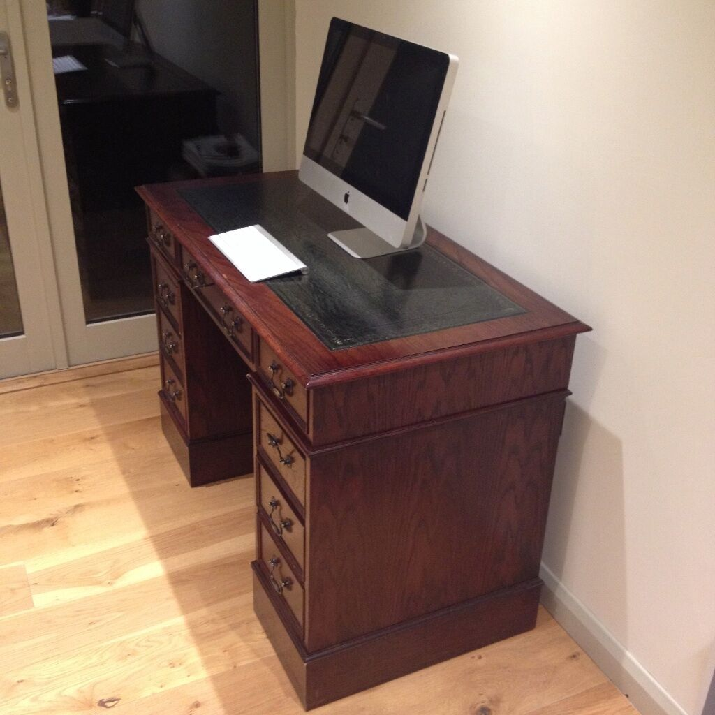 Wooden Computer Desk For Sale With Leather Top And Printer Table