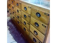 Vintage Haberdashery Drawer counter, 24 drawers with brass handles length 1.8m