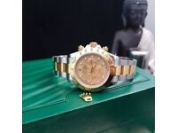 New boxed & bagged two tone strap gold face rolex daytona