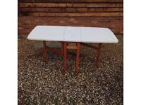 White Retro Melamine Kitchen Table, Drop Leaf