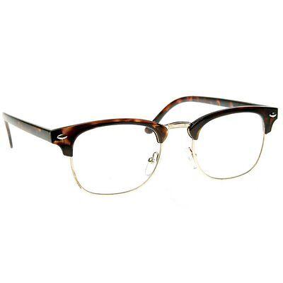 (Black Brown Tortoise Clubs master Half Frame Metal Frame Clear Glasses)