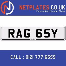 RAG 65Y Registration Number Private Plate Cherished Number Car Registration Personalised Plate