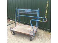 Large wheeled heavy duty trolley for building site or diy store to carry sheet material