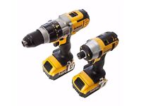 DEWALT 18V impact driver and drill set with 2 batterys and charger