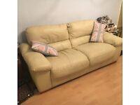 Italian leather Ivory deep cushioned 2/3 seater sofa - bargain!!