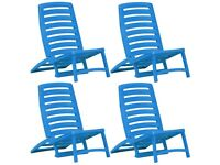 Kids' Folding Beach Chair 4 pcs Plastic Blue-45626